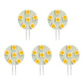 Side Pin T3 JC G4 LED Bulb, 1.2 Watts, 10W Equivalent, 5-Pack