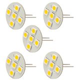 Extended Back-Pin T3 JC G4 LED Bulb, 1 Watt, 10W Equivalent, 5-Pack