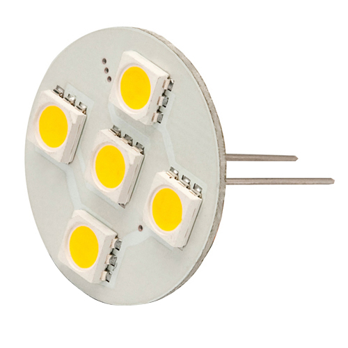 Extended Back Pin G4 12V AC/DC 5 x Tri-Chip 5050 SMD LED Bulb 120 Degree - 10W Equal