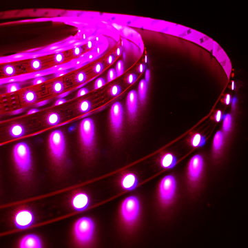 IP33 10mm Wide 5m Long 150 x Tri-Chip RGB LED Strip Tape White-PCB 12V DC 36 Watt