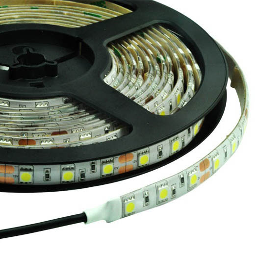 IP55 Dustproof 10mm Wide 5m Long 300 x Tri-Chip LED Strip Tape White-PCB 12V DC 72 Watt