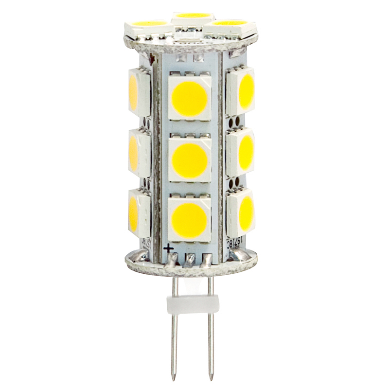 Back Pin Tower G4 12V AC/DC 18 x Tri-Chip 5050 SMD LED Bulb 360 Degree - 35W Equal