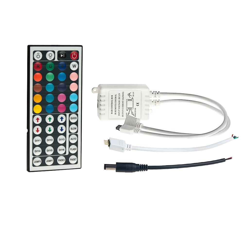 rgb led controller with 44 key ir remote 12 24v dc 2a. Black Bedroom Furniture Sets. Home Design Ideas