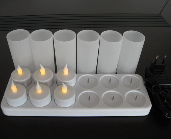 Flameless Flicker Rechargeable LED Tealight Votive Candles set of 12