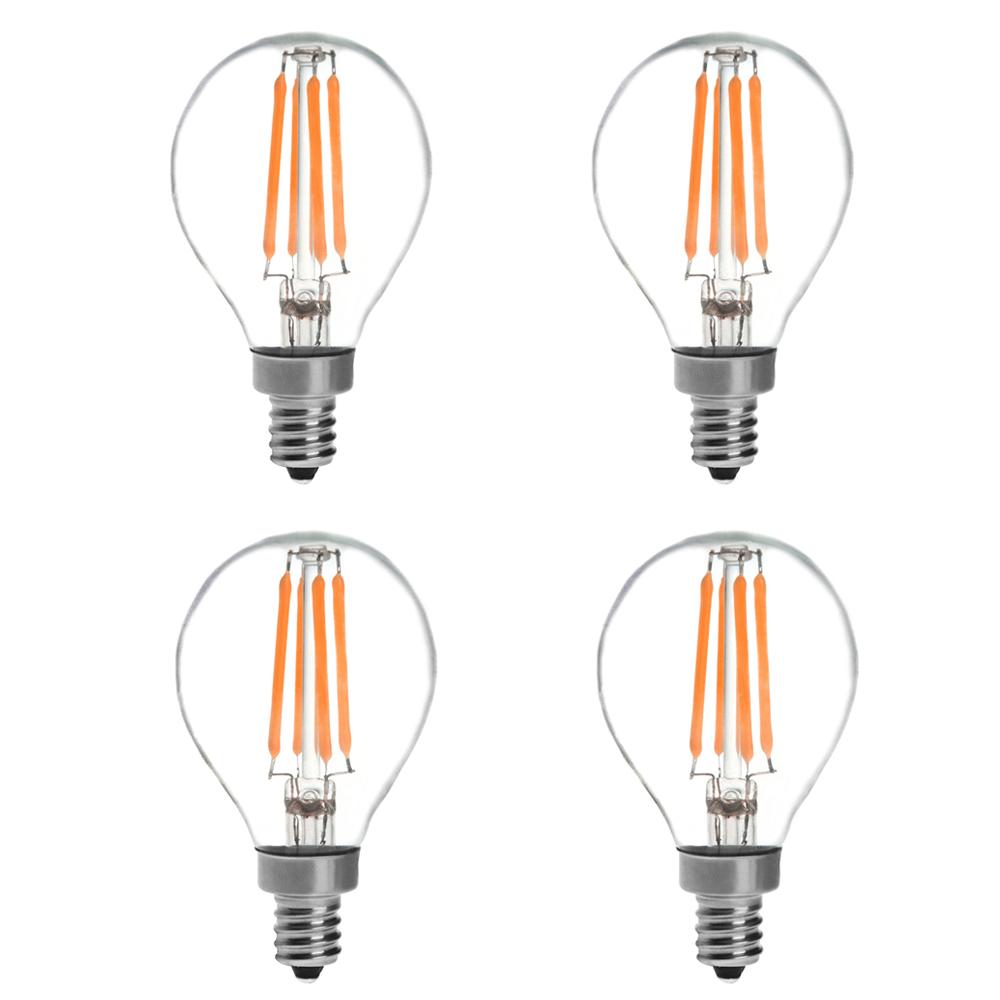 4 Pack 4w Led Filament Candelabra Bulb 40w Incandescent: G14 E12 4W LED Vintage Antique Filament Light Bulb, 40W