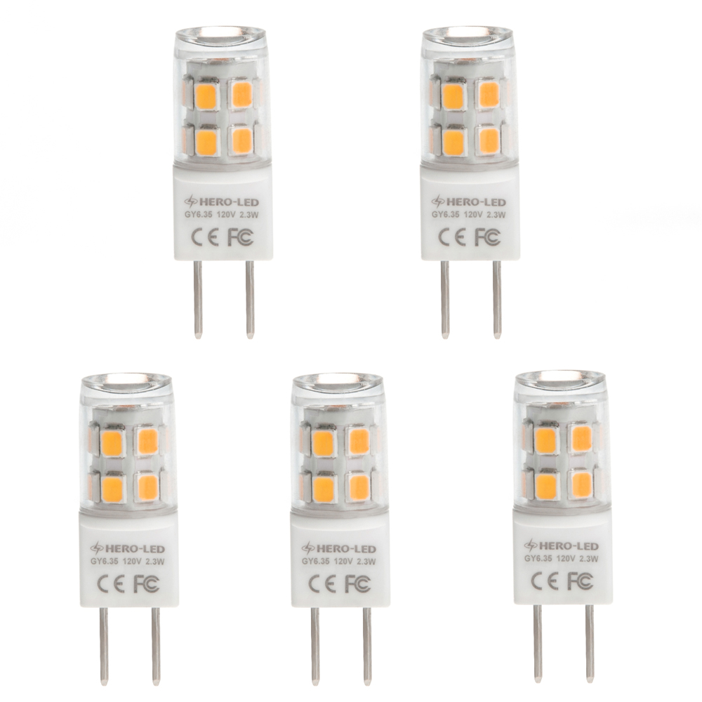 Oprindeligt T4 GY6.35 120V LED Bulb, 2.3 Watts, 20W Equivalent, 5-Pack [G6-17S YW47