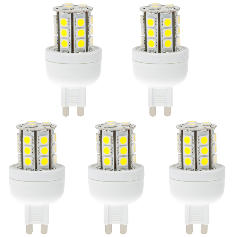 Dimmable G9 AC100-240V 24 x Tri-chip 5050 SMD LED Bulb 360 Degree - 45W Equal