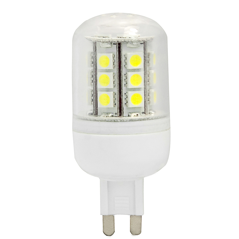 G9 AC85-265V 24 x Tri-chip 5050 SMD LED Bulb 360 Degree With Cover - 45W Equal