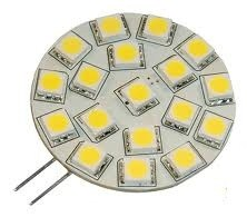 Side Pin G4 12V AC/DC 15 x Tri-Chip 5050 SMD LED Bulb 120 Degree - 30W Equal