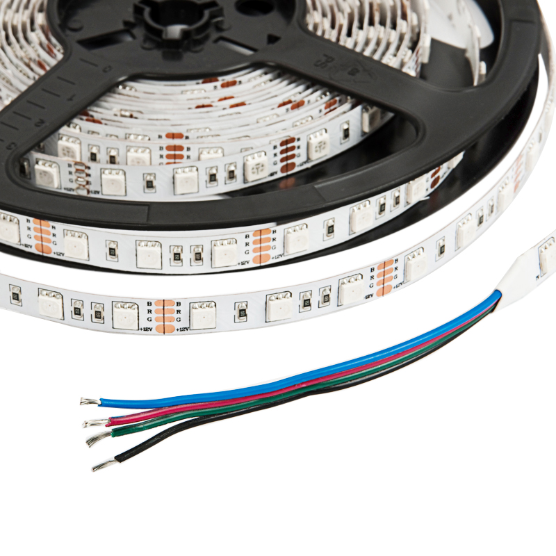 IP33 10mm Wide 5m Long 300 x Tri-Chip RGB LED Strip Tape White-PCB 12V DC 72 Watt
