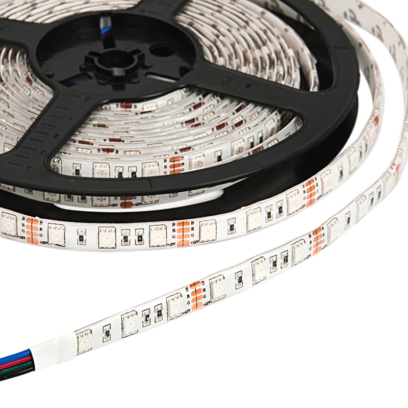 IP55 10mm Wide 5m Long 300 x Tri-Chip RGB LED Strip Tape White-PCB 12V DC 72 Watt