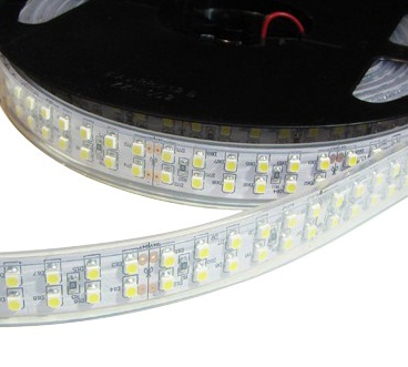 Double Row IP67 Waterproof 18mm Wide 5m Long 1200 x Single-Chip LED Strip Tape White-PCB 24V 112 Watt