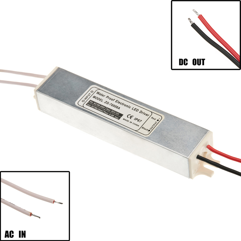 Constant Current Waterproof Led Driver 100-240v AC to 700mA 3-12v DC (8.4W)