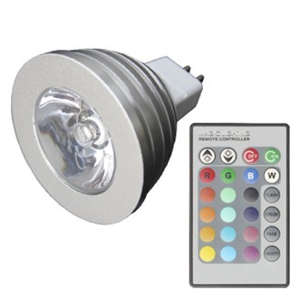 Sync RGB Multi-Color Changing LED Light Bulb MR16 3W + Remote Controller