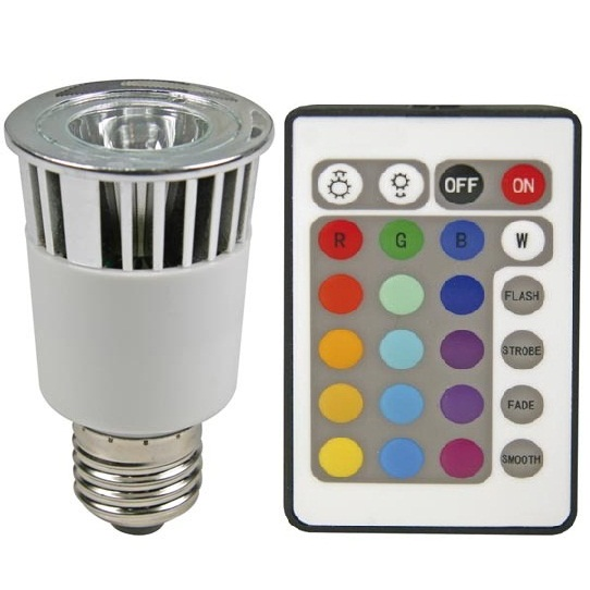 Sync RGB Multi-Color Changing LED Light Bulb E27 5W + Remote Controller