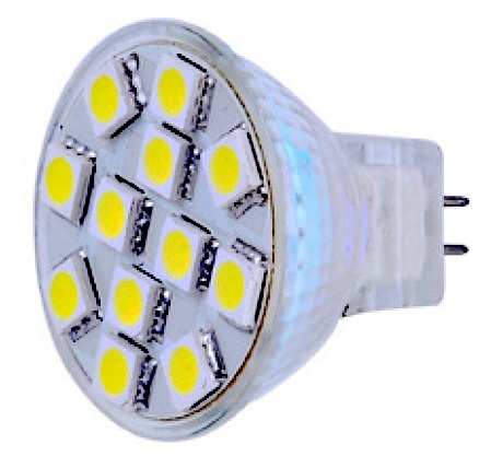 Car RV Caravan Lights - MR11 GU4 12V AC/DC 12 x Tri-Chip 5050 SMD LED Bulb 120 Degree - 25W Equal