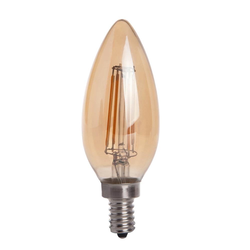 Newhouse Lighting 40w Equivalent Incandescent B10: Gold Tint B10 E12 4W LED Vintage Antique Filament Light
