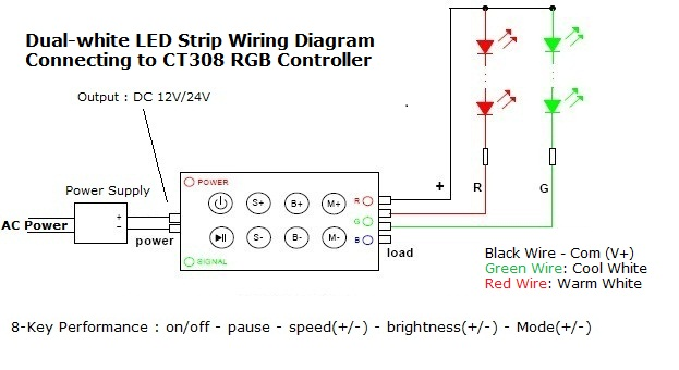 downlight wiring diagram v images 5m self adhesive 600 smd led strip light tape 12v dc 48w dual white
